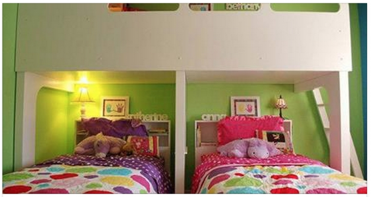 25 id es de chambres partag es pour des enfants gain de place bonjour. Black Bedroom Furniture Sets. Home Design Ideas