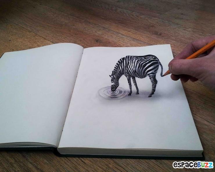 26 dessins au crayon en 3d couper le souffle - Dessin zebre facile ...