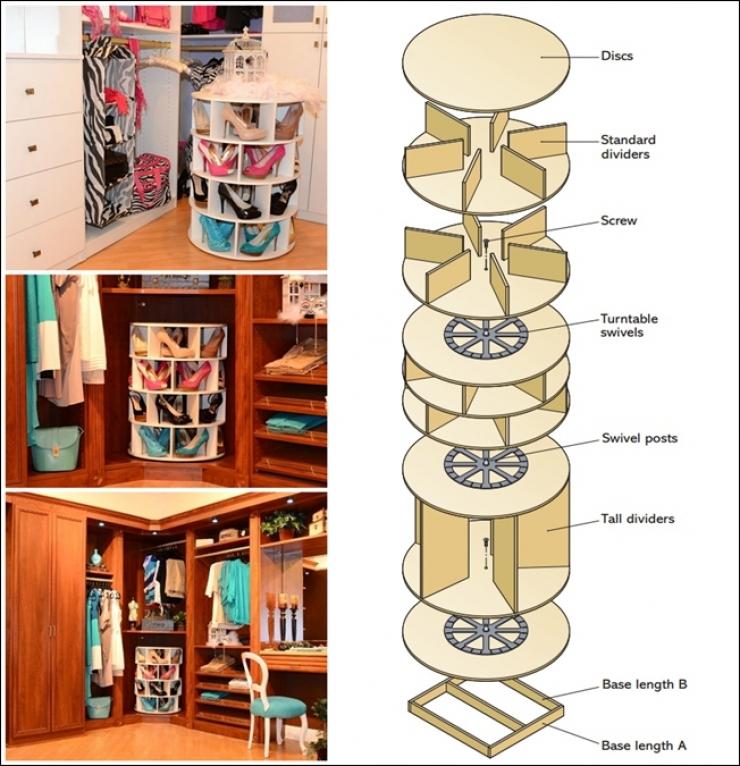 voici comment fabriquer un meuble de rangement tourniquet pour vos chaussures. Black Bedroom Furniture Sets. Home Design Ideas