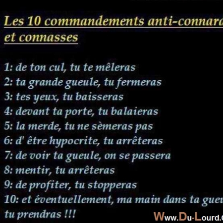 Photo : Les 10 Commandements anti...